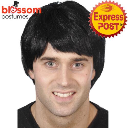 W473 Black Adult Mens Guy Costume Wig Short Pop Star Boy Band 90s Rock Singer
