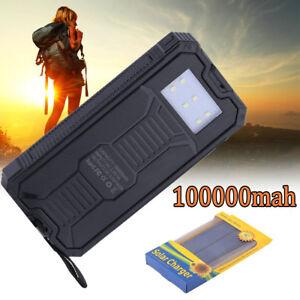USA Waterproof 100000mAh 2 USB Portable Solar Battery Charger Solar Power Bank