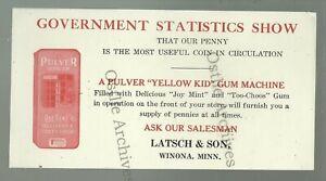 Winona-MINNESOTA-c1890-ADVERTISING-Latsch-amp-Son-PULVER-CHEWING-GUM-Yellow-Kid