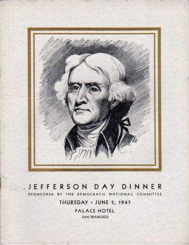 1947 Democratic Jefferson Day Dinner Program