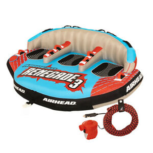 Airhead Renegade 3 Person Inflatable Towable Water Tube Kit w/ Boat Rope & Pump
