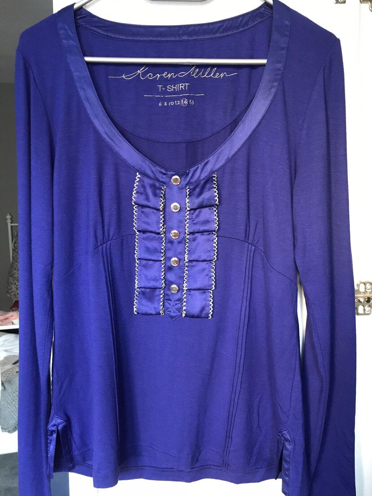 Karen Millen Blause Gr. L, Farbe kobalt blau