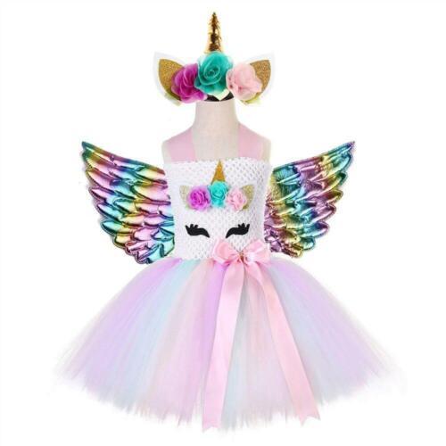 Nouvelle Princesse Licorne bébé fille vêtements Fairy Wings Tutu Jupe Partie Enfants Vêtements