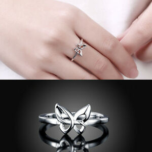 Korean Design Simple Women Silver Plated Butterfly Ring Jewelry