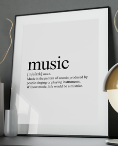 Music Inspirational Quote Poster Art Print A6-A0 Gift Love Wife Decor Kids Band