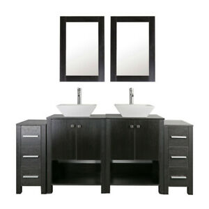 72 Bathroom Vanity And Sink Combo Black Wood Double Top Cabinet W