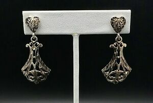 Vintage-Norwegian-Sterling-Silver-Earrings-Dangle-Studs
