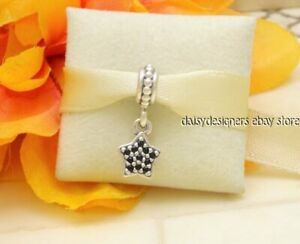 4ebe1fed3 Image is loading Authentic-Pandora-Silver-BLACK-PAVE-STAR-Dangle-Charm-