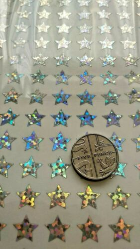 Glitter Holographic Sparkle Waterproof Stickers Peel Offs 10 mm Silver Stars