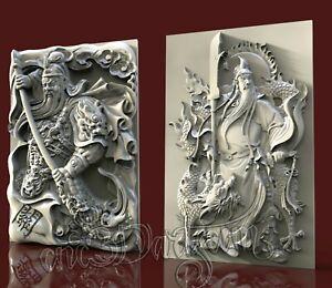 2 3D Models STL for CNC Router Artcam Aspire Asia Warrior Panel Cut3D Vcarve