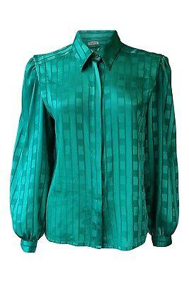 * Hypen * Vintage Verde Smeraldo A Maniche Lunghe Self A Righe Camicia Donna (12)-mostra Il Titolo Originale