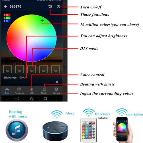 10XΦ45mm 12V Smart WIFI Control RGB+WW Yard Landscape LED Deck Stair Rail Lights