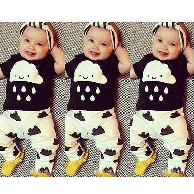 Newborn Baby Boys Girls Toddler Kids T-shirt Tops+Pants Outfit 2pcs Clothes Set
