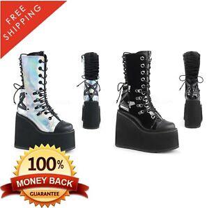 7c2c472cc0d Pleaser Demonia SWING-120 Women s Vegan Platform Wedge Mid Calf Boot ...