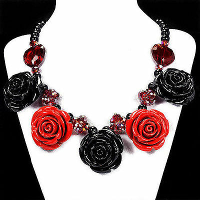 Rose, Black Rose & Fire Crystal Bib Necklace Handcrafted Jewellery UK Gift Idea