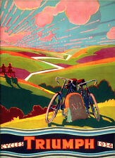 Vintage 1934 Cycles Triumph Bicycles Advert Repro Poster A4 Print