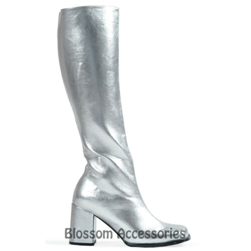 S29 Ladies GoGo SILVER Knee High Adult Womens Hippy 60/'S 70/'S Disco Shoes Boots
