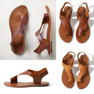 f4c911dac0f0 Women s Gladiator Sandals Summer Flat Heel Open Toe PU Leather Shoes ...