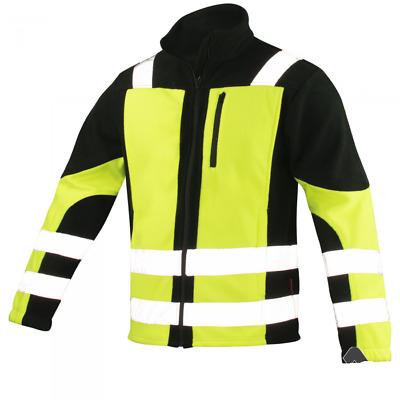 Men Hi Vis Viz V-Neck Reflective Visibility Soft Shell Fleece Work Jacket HOT