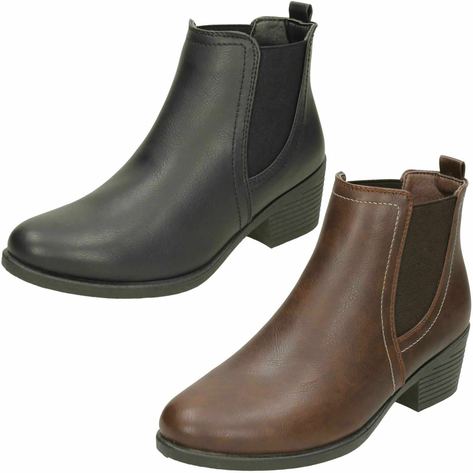 Ladies Spot On Twin Gusset Pull On Ankle Boots F50739