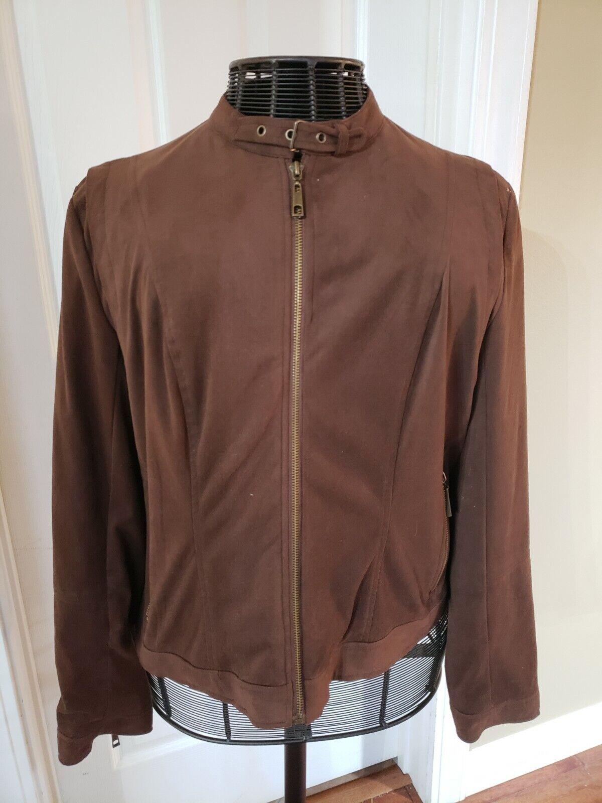 Baccini Women's Jacket size XL brown lined pockets zipper cuffs! EUC!