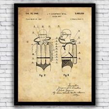 Jacques Cousteau Scuba Diving P/óster Con Dise/ños Patentes Decoraci/ón de Hogar Inventos Carteles Mercury Tilting System 1965 Patent Print Marco No Incluido