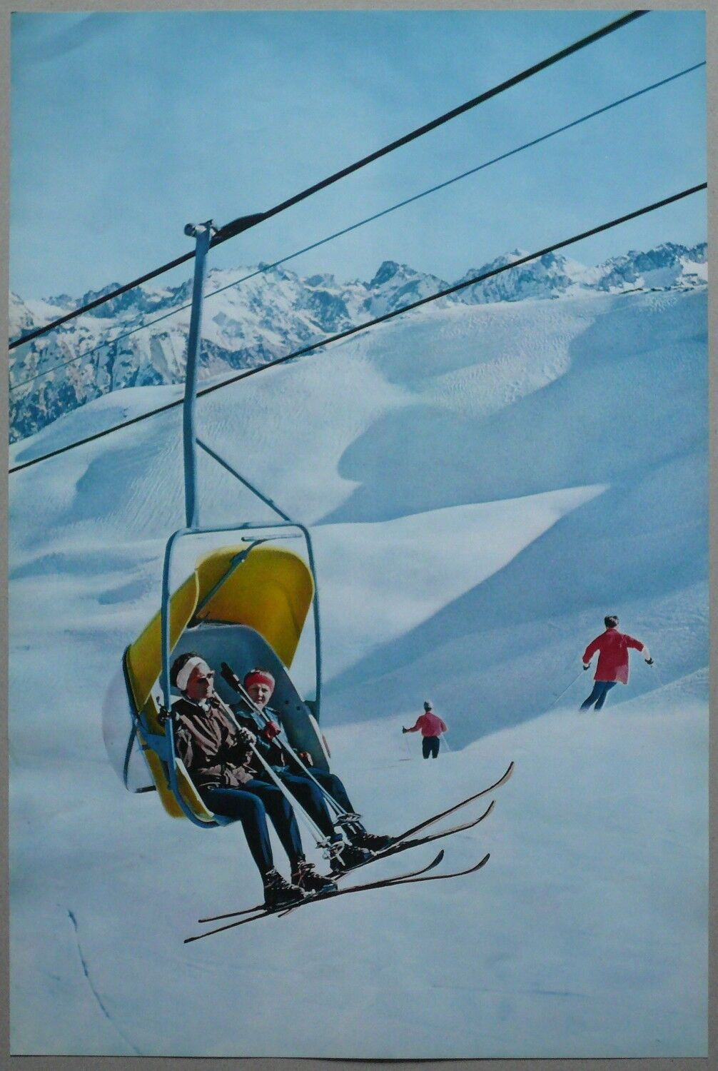 Old tourism poster ski the chairlift chairlift skiing vintage poster 60's