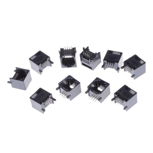 10Pcs Unshielded RJ11 RJ45 8P8C Network Modular PCB Connector Jacks Pop.\