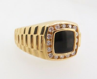 .Onyx & Diamond Set 18K Gold Gentleman's President Ring Size T Valuation $4250