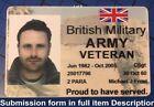 Veteran Keep Sake ID Card Badge Army Navy RAF Regt Royal Marines 2