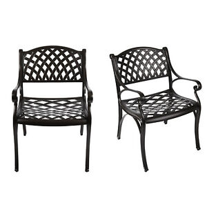 set of 2 outdoor cast aluminum chair patio furniture arm chairs