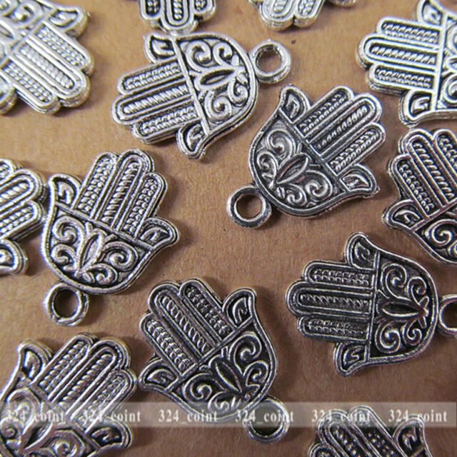 P070 20pcs Tibetan Silver Charm Double-sided Hand Accessories Wholesale