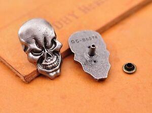 1-7X2-8CM-10pcs-Antique-Silver-Skull-Leathercraft-Decor-Saddle-Concho-Rivetback
