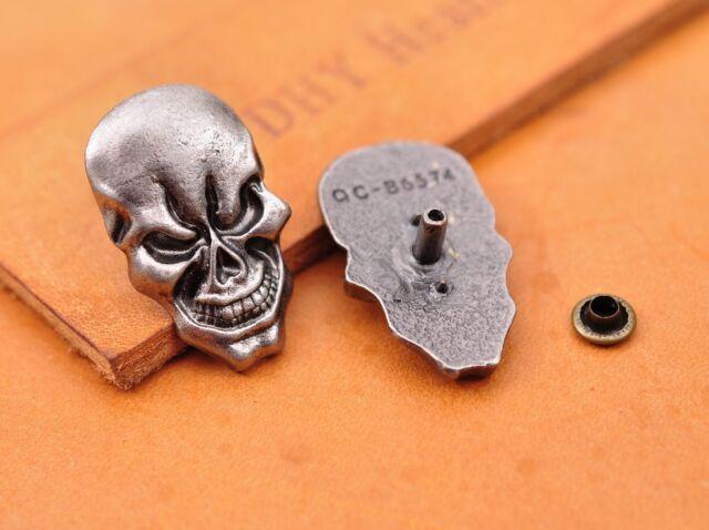 1.7X2.8CM 10pcs Antique Silver Skull Leathercraft Decor Saddle Concho Rivetback