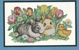 Lamb Rabbits Easter Eggs Chicks Easter Cross Stitch Handmade Cards Cute
