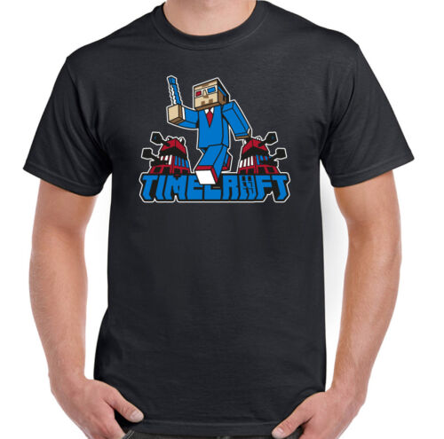 TimeCraft T-Shirt Dr Who Mens Funny Minecraft  Parody Mash Up Tee Top