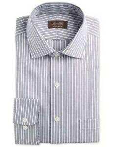 New Tasso Elba Men's Beige Striped Long Sleeve Dress Shirt Size L 16 1/2 34/35