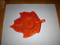 Orange Glass Leaf Candle Holder Plate - Ganz -