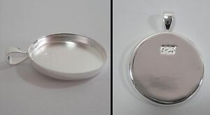 .925 Solid Sterling Silver Pendant Tray 25 mm (1 inch) diameter