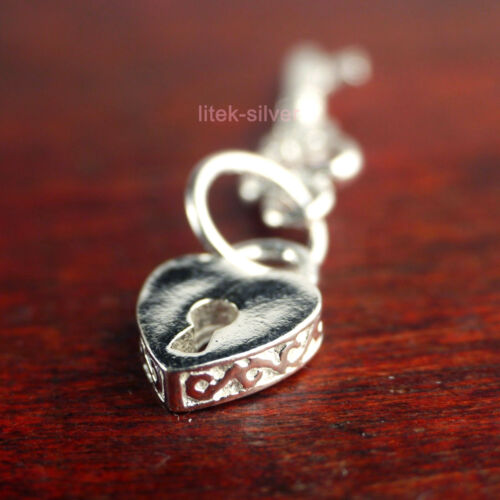 925 Sterling Silver Charm Bead Retro Key to Heart For Pendant Bracelet DIY A2018