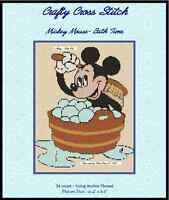 Counted Cross Stitch Mickey Mouse bath Time - Complete Kit 10-12 Kit