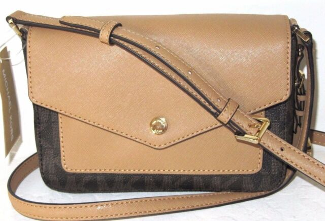 16aec903d57f Michael Kors Greenwich Small Flap Crossbody PVC Brown Peanut Signature 228