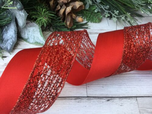 CHRISTMAS WIRE EDGE RED RIBBON WREATH BOWS//TREE DECORATIONS 4m x38mm 2m/&2m