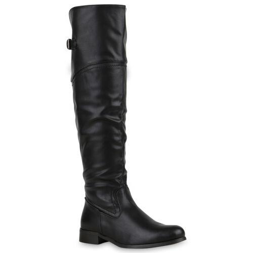 Bequeme Damen Stiefel Reiterstiefel Langschaft Boots Leder-Optik 813859 Top