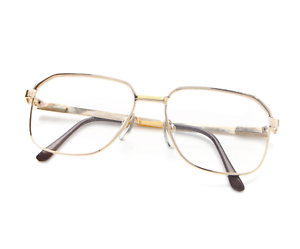 Vintage-Hilton-602-Gold-Square-Eyeglasses-Optical-Frame-Lunettes-Eyewear-Glasses