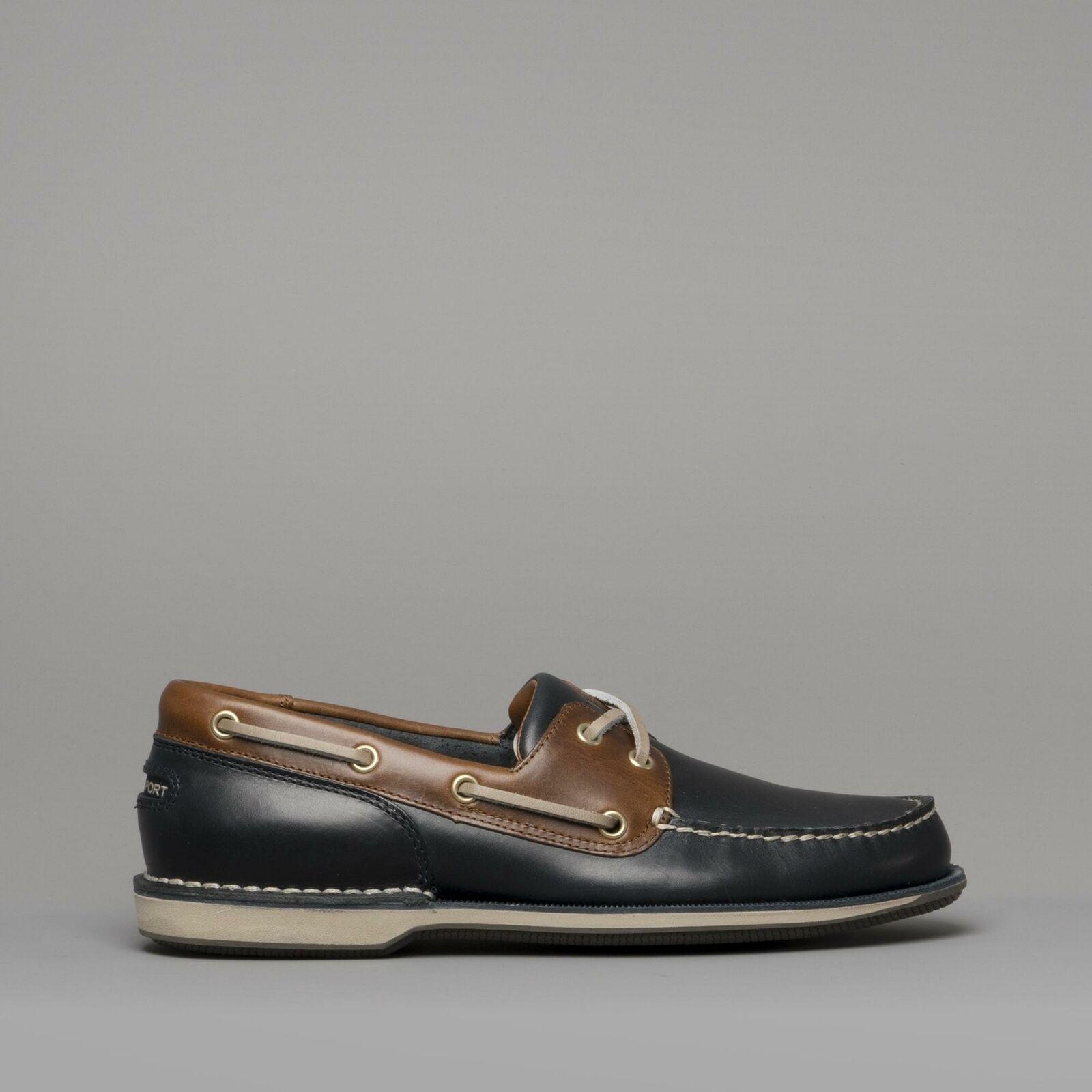 Rockport PERTH Homme En Cuir Mocassin chaussures Bateau bleu Marine foncé Tan