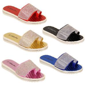 6b0a4d2a3643 Ladies Slip On Beach Summer Sliders Mule Sandals Womens Diamante ...