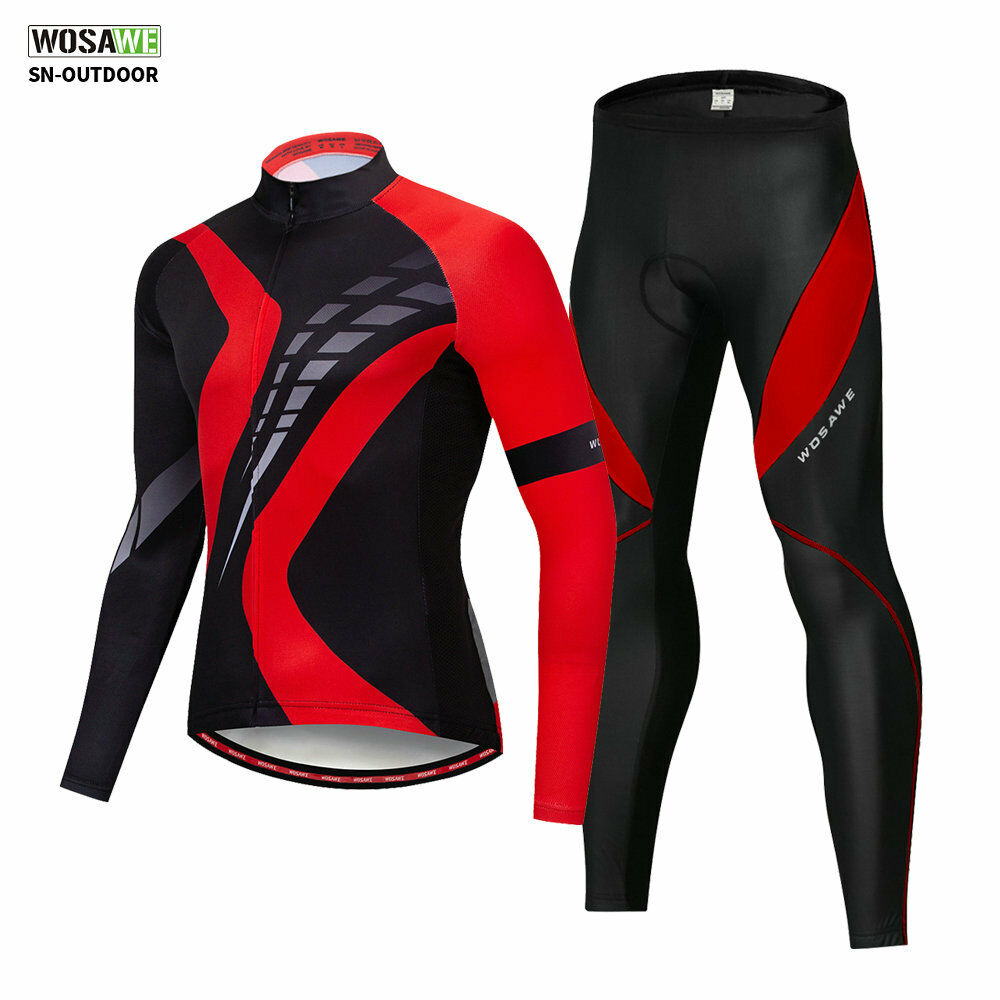 Mens Cycling Jersey Trousers Set MTB Mountain Bike Padded Pants Long Sleeve Suit