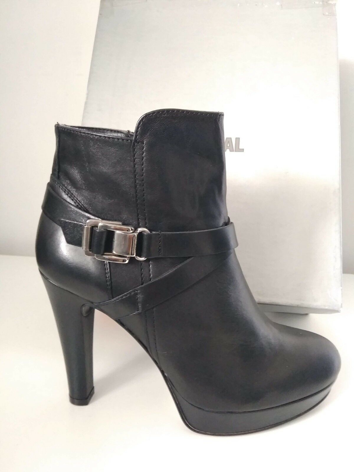FORUomoTINI  STIVALETTO IN PELLE NERO N. N. NERO 38 TACCO H.11 CM  (GLOBAL MADE IN ITALY) 9a9c3f