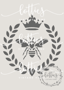 QUEEN BEE STENCIL A5 Furniture Fabric Arts Vintage Shabby Chic ❤ 190 MYLAR